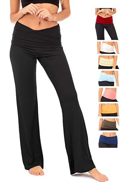 2d4e85a129b Amazon.com  DEAR SPARKLE Fold Over Yoga Lounge Stretch Pants Women ...
