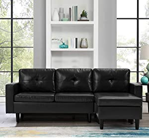 Esright Black Leather Sectional Sofa Couch for Living Room, L-Shape Couch with Chaise Lounge, Small Couch for Small Rooms, Black