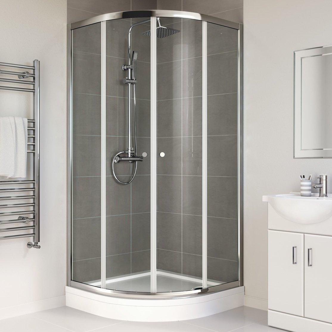 iBathUK 900 x 900 mm Designer Quadrant Sliding Door Shower Enclosure + High Tray