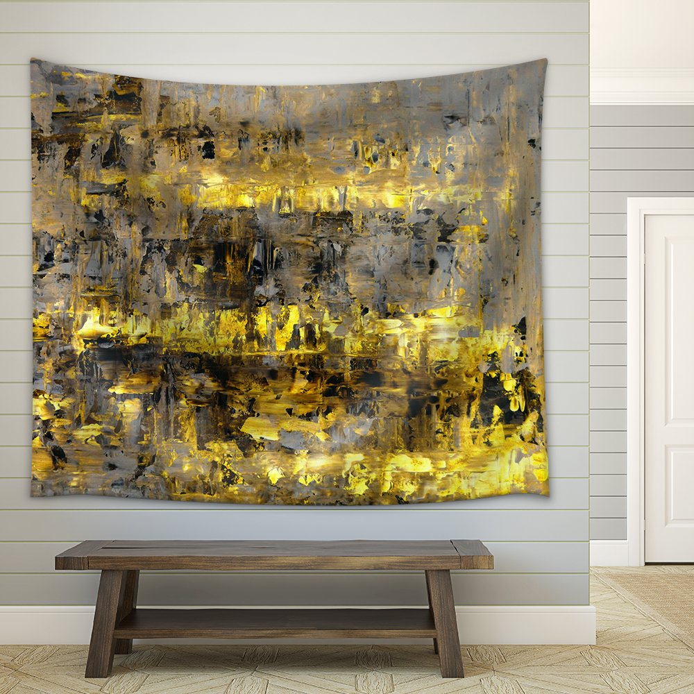 Brown and Yellow Abstract Art Painting Fabric Wall - Tapestry | Wall26