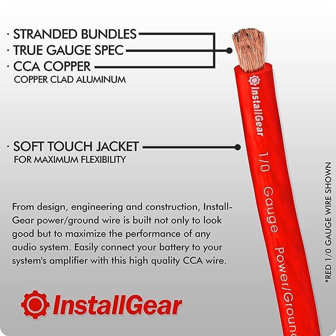 Amazon.com: InstallGear 1/0 Gauge Red 25ft Power/Ground Wire True ...