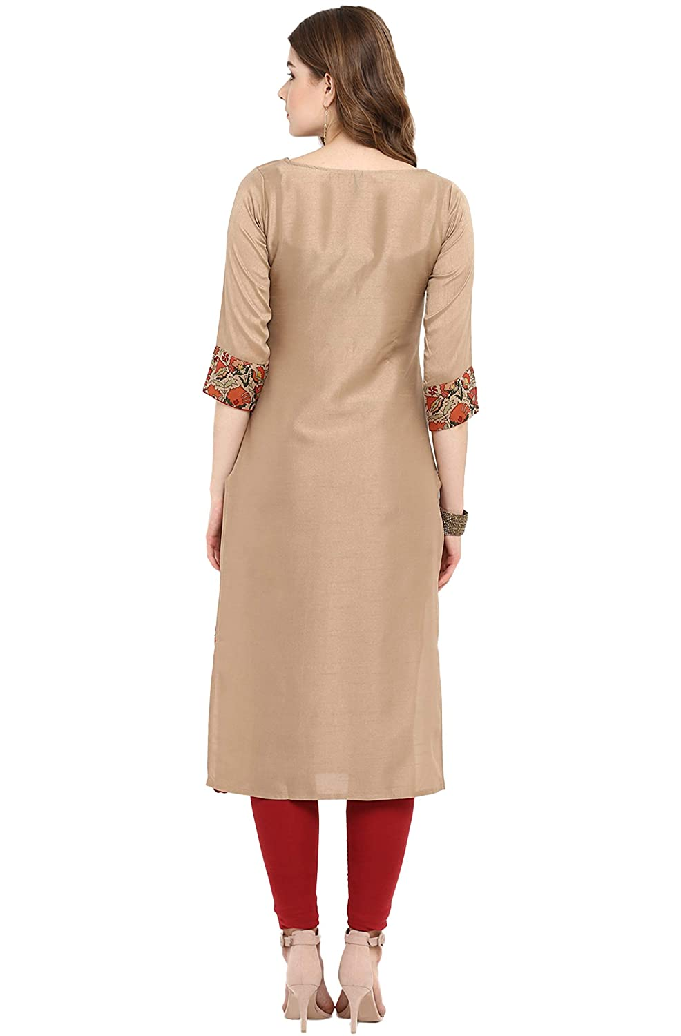 Janasya Indian Tunic Tops Poly Silk Kurti for Women