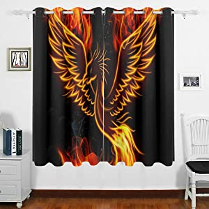 DOMIKING Blackout Curtain Panels Bedroom - Phoenix in Fire Fantastic Bird Thermal Insulated Curtain Grommet Window Drapes Home Decoration for Bedroom Living Room(63x55inch)