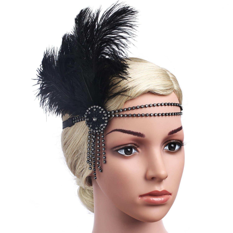 Babeyond Fascia Anni 20 Gatsby Flapper Headband Fascia Charleston con Piuma  Anni 20 Fascia Capelli Gatsby ... 6ddcdda18433