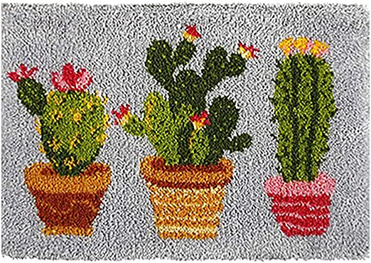 Amazon Com Tapestry Kits Latch Hook Rug Kits Carpet Embroidery Latch Hook Rug Needlework Button Package Diy Rugs Hook Rug Point Rug Cactus