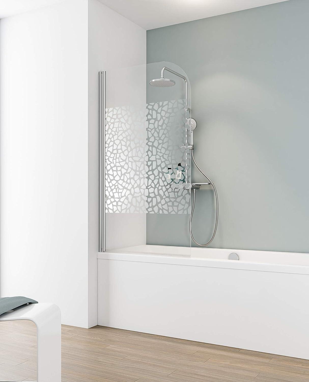 Schulte - Mampara para bañera, abatible y plegable, 80 x 140 cm - Un panel giratoria de vidrio - Diseño de guijarros cromados, perfil cromado: Amazon.es: Bricolaje y herramientas