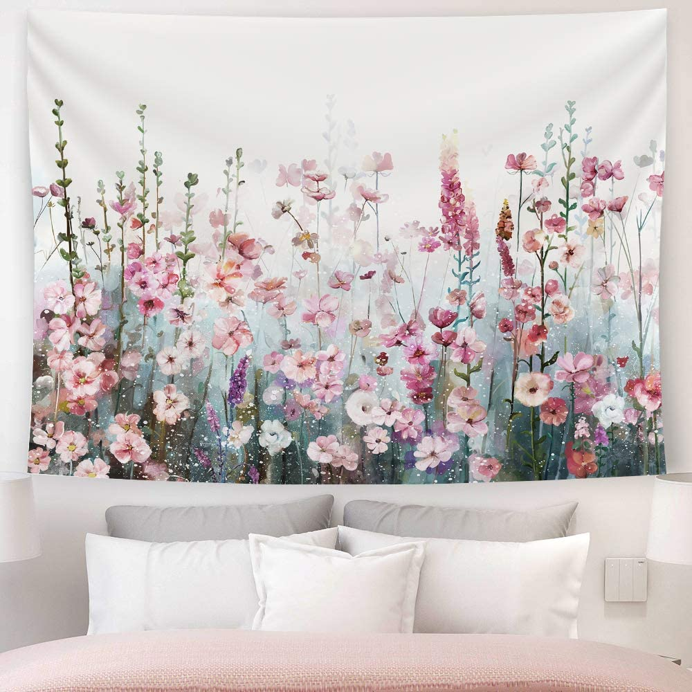 Amazon Com Sumgar Colorful Flowers Tapestry Wall Hanging Pink Floral Romantic Wildflower Plants Nature Scenery Tapestries Decoration For Bedroom Living Room 80 X 60 Inch Everything Else