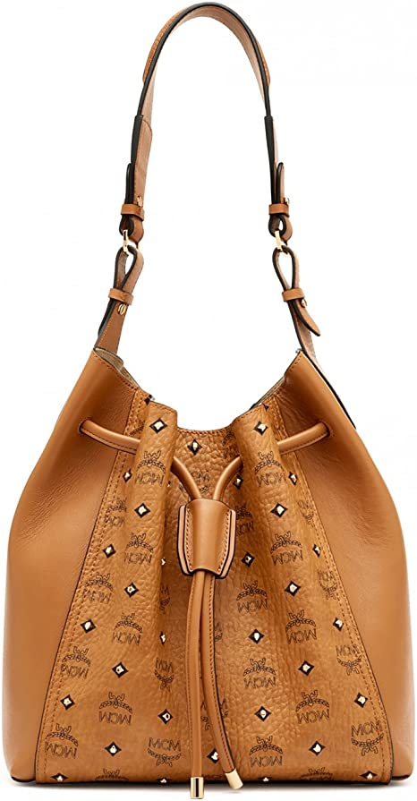 MCM Damen Handtasche Drawstring Gold Visetos Cognac: Amazon