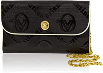 66fea76002dbf Valentino Orlandi Italian Designer Black Monogram Leather Clutch Wallet w  Chain