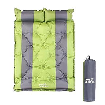 Camp Solutions Saco de dormir doble autohinchable de 18 puntos con almohada – 190,5