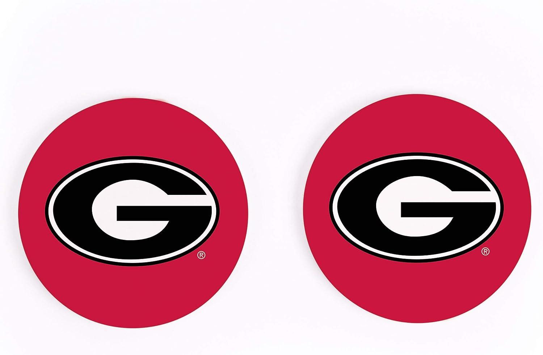 University of Georgia Bulldogs NCAA Team Logo on Woodgrain 4 x 4 Absorbent Ceramic Car Coasters Pack of 2