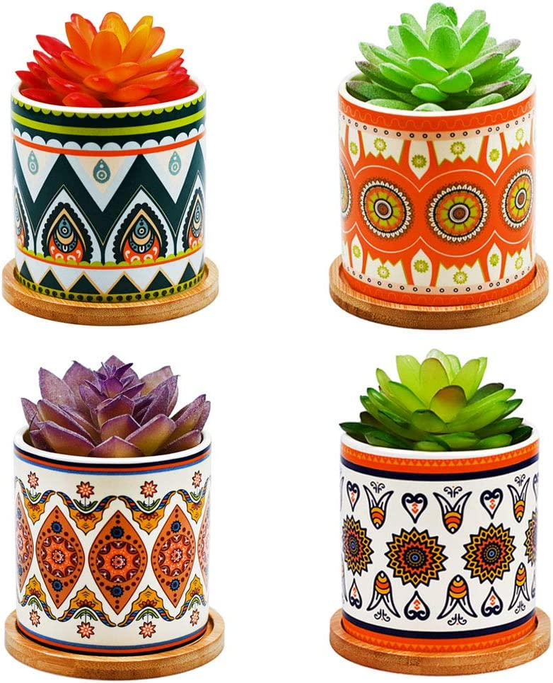 Succulent Plant Pots -3.5 inch Ceramic Succulent Planter - Small Cylinder Flower Pots for Cactus with Drainage Hole and Bamboo Tray, 4 Pack.