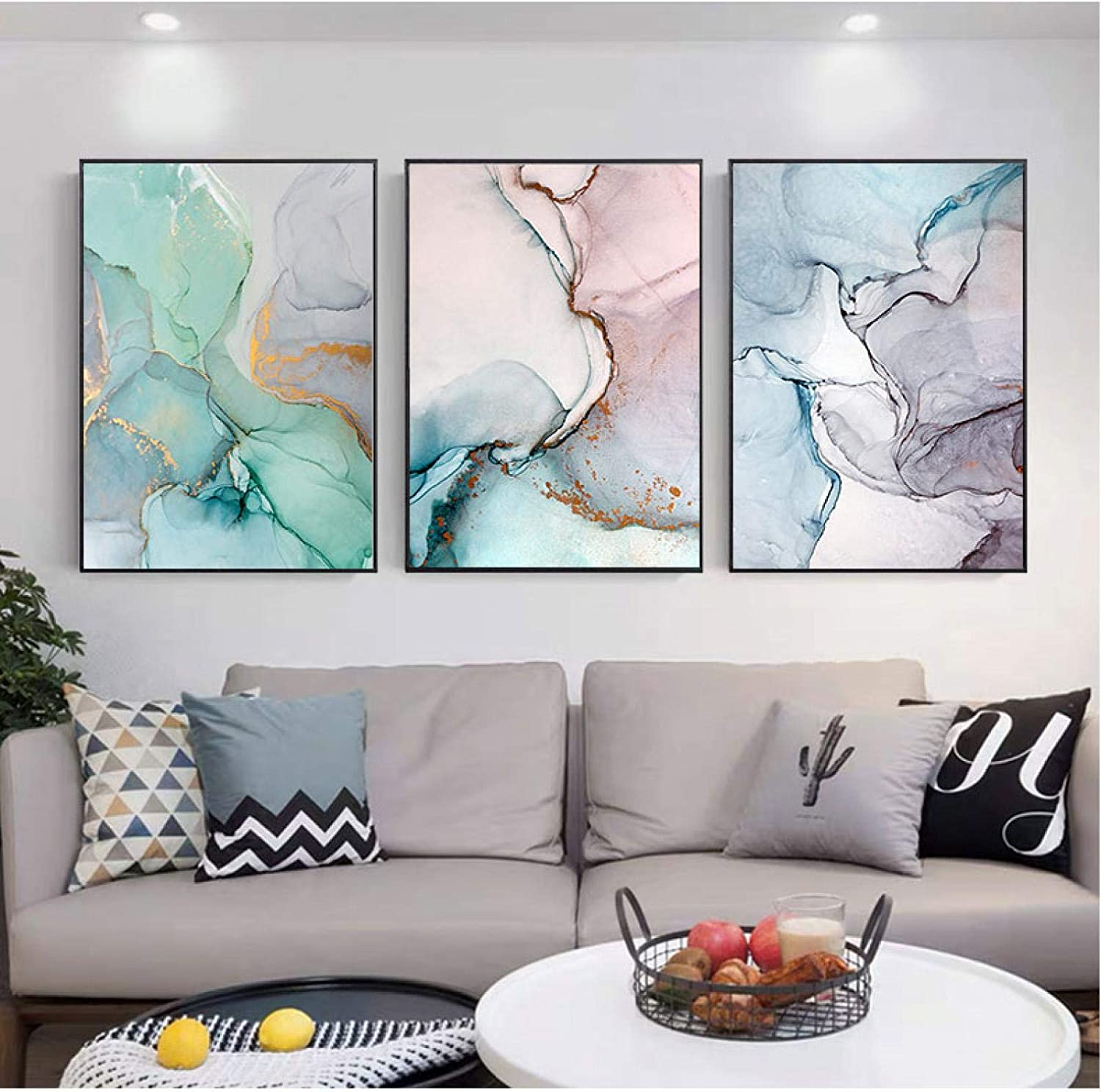 """YQLKC Landscape Golden Blue Ribbon Minimalist Abstract Painting Canvas Painting Poster Modern Wall Art Picture Decor Home 7.9""""x13.8""""(20x35cm) x3 Frameless"""