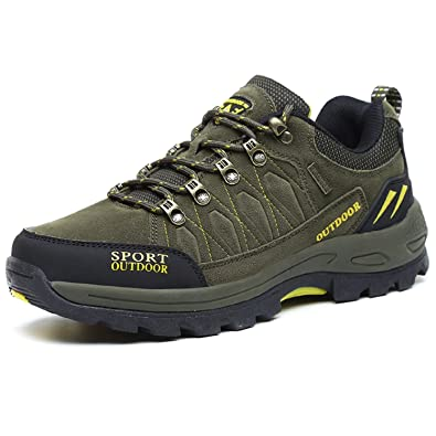 3cad01f2c9e1a5 NEOKER Chaussures de Randonnée Outdoor pour Hommes Basses Trekking et Les  Promenades Sneakers Armée Verte 39
