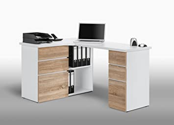 Oak contemporary corner computer matelpro bureau with storage sonoma