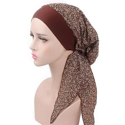 vente chaude en ligne e12ee 111e7 Lamdoo Turban/foulard pré-noué pour chimiothérapie, rouge vin, café, Taille  unique