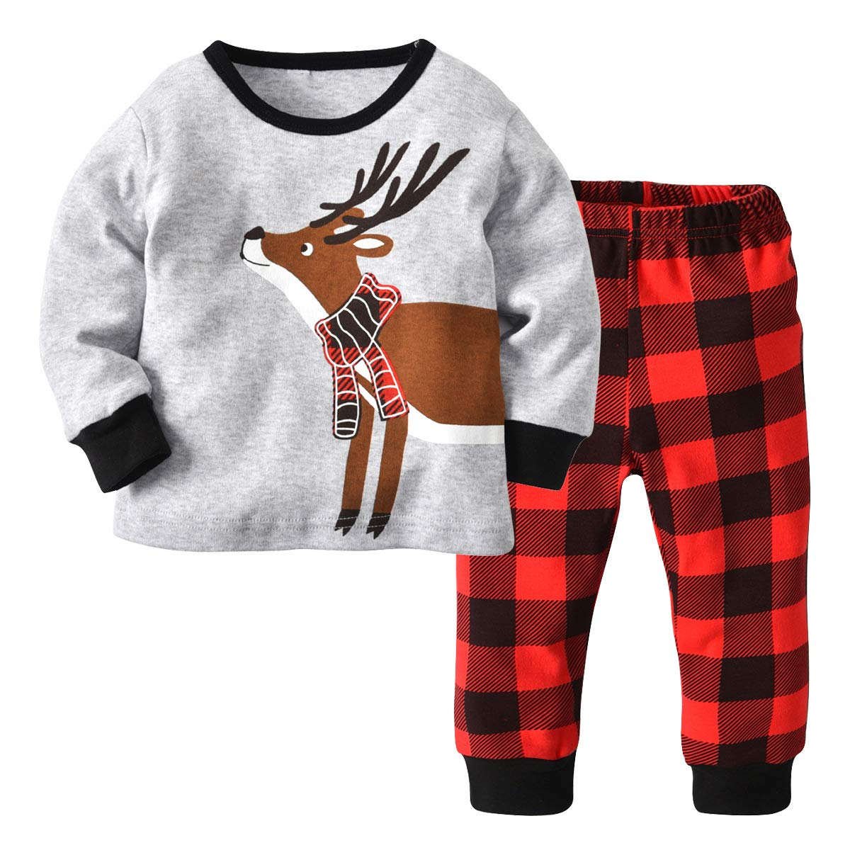 Baby Boy Pajamas Set Christmas Deer Long Sleeve Cotton Tops+Plaid Pant Casual Set