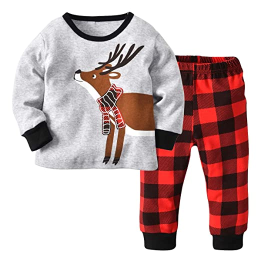 2a07d1636 Amazon.com  Kids Boys Girls Pajamas Set Long Sleeve Elk Tops+Stripe ...