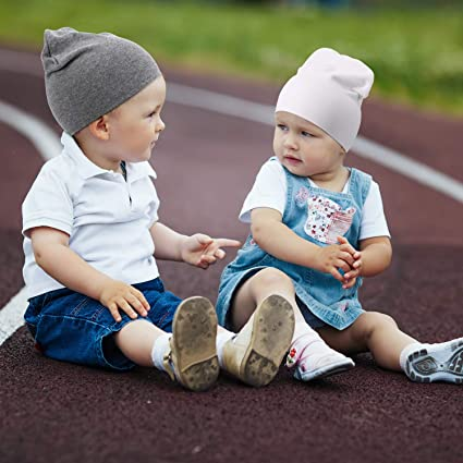 Outus 6 Pieces Baby Cotton Beanies Stretchy Infant Toddler Beanies Caps for 1-4 Years