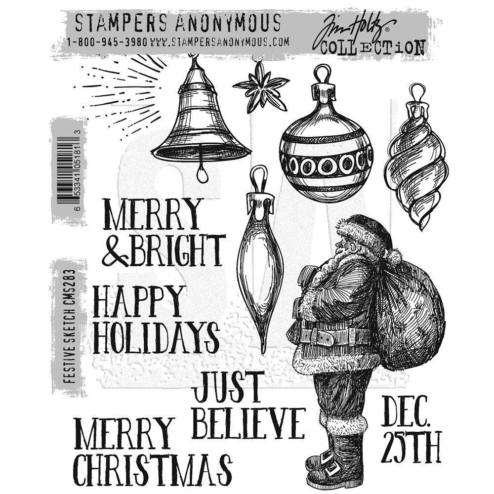 ShopForAllYou Stamping & Embossing Stampers Anonymous''Festive Sketch'' Christmas Rubber Cling Stamp Set