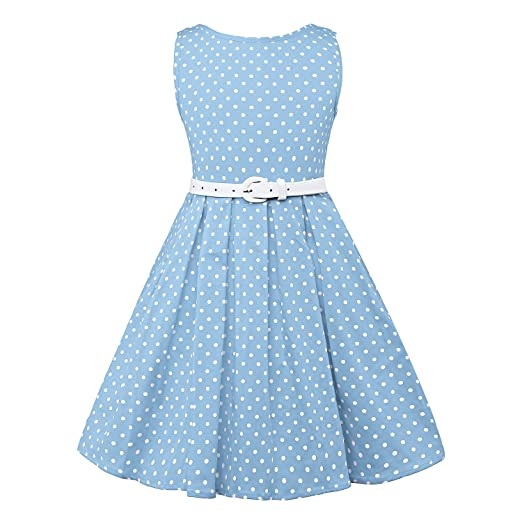 Kids 1950s Clothing & Costumes: Girls, Boys, Toddlers LUOUSE Girls Sleeveless Vintage Polka Dot Swing Party Dresses With Belt (2-7 Years) $12.99 AT vintagedancer.com