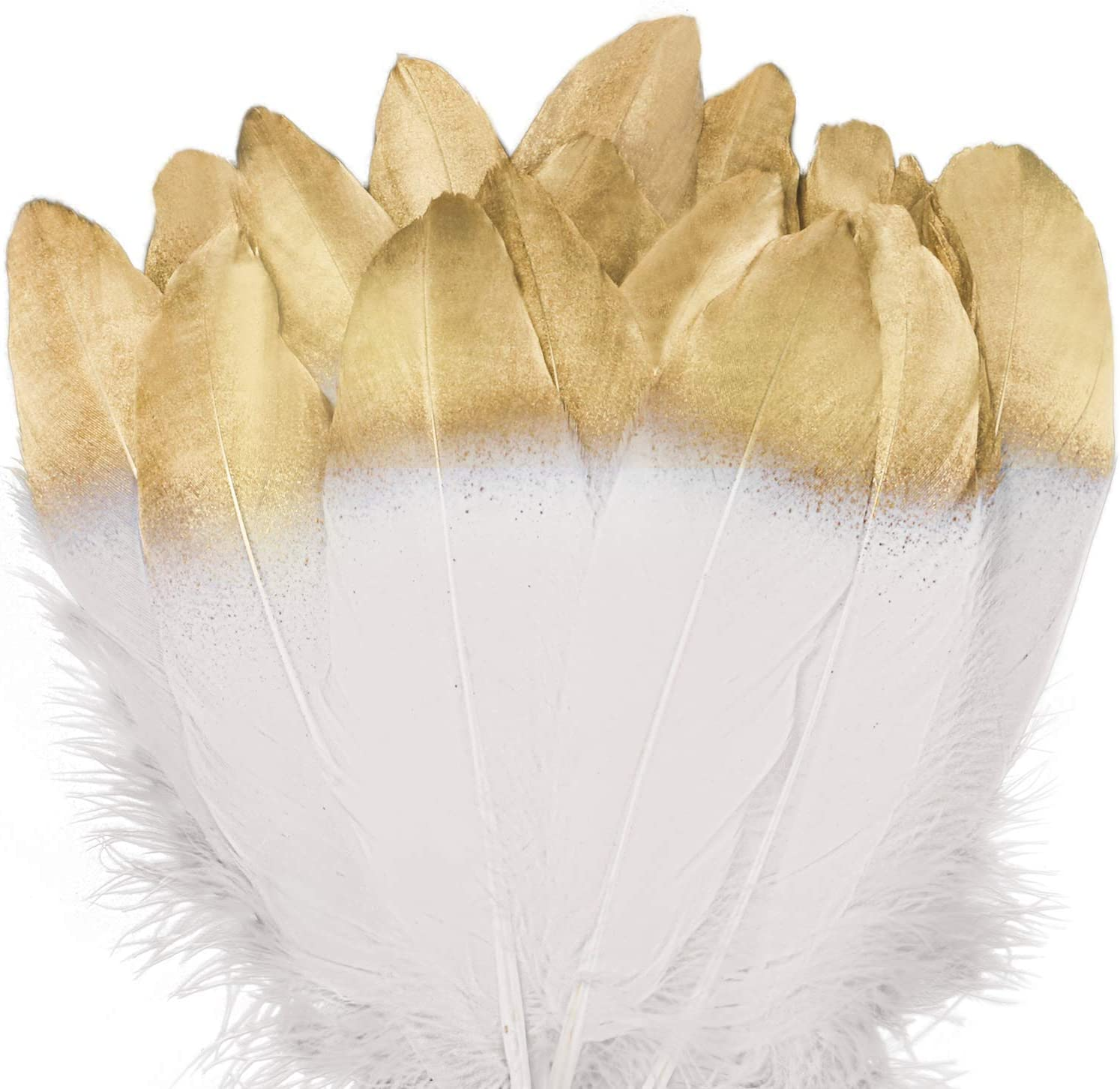 UNEEDE 42 Pcs Gold Dipped White Glitter Feather Goose Real Feather Natural Craft Art Soft Native Feather Accessories for Easter Decor,Christmas, DIY, Party, Valentines Day Decor,Wedding, Dream Catcher
