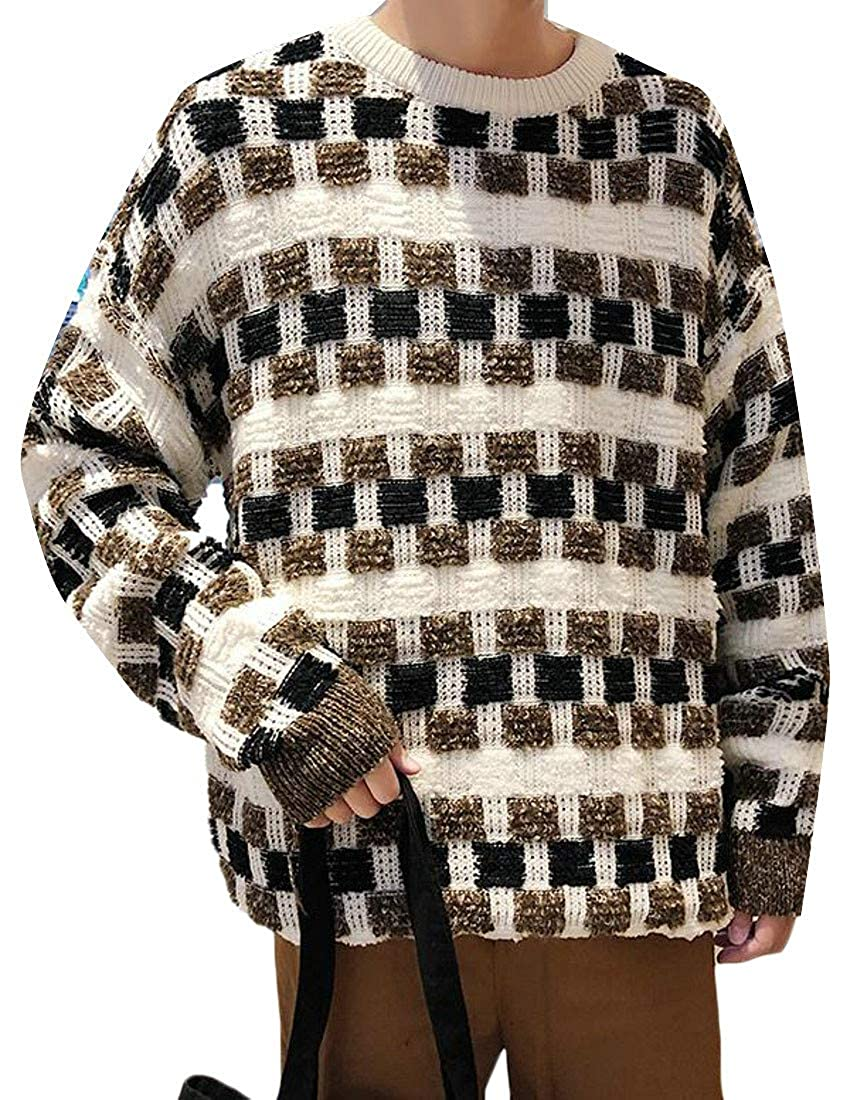 Cromoncent Mens Loose Fit Color Block Crew Neck Knitwear Pullover Jumper Sweater