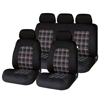 XtremeAutoR Universal Tartan Plaid Look Car Seat Covers Full Set Washable Airbag Compatible