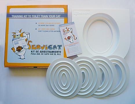 5 Piattaforme per Un adeguamento agevole e Sicuro del Gatto. Training Kit per addestrare i Gatti ad Usare la Toilette di casa Servicat