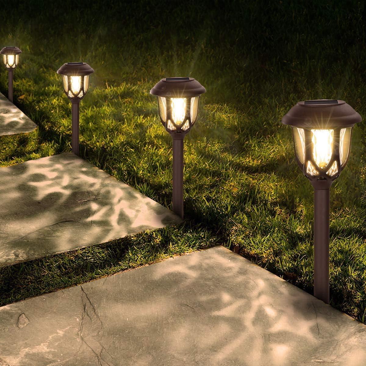 Solar Lights Outdoor Decorative,10 Packs Solar Pathway Lights,Pathway Lights Solar Powered,Waterproof Solar Powered Garden Yard Lights for Walkway Sidewalk Driveway-Warm Light