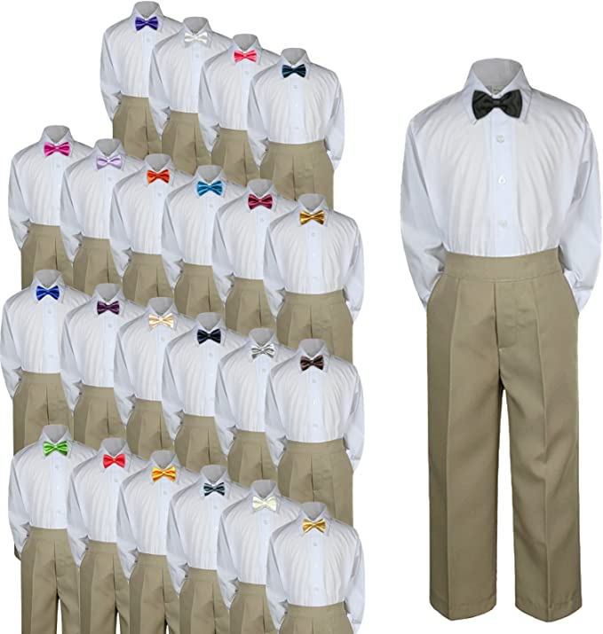 Amazon.com: 3pc Baby bebé Kid Boy Traje de Boda Formal Caqui ...