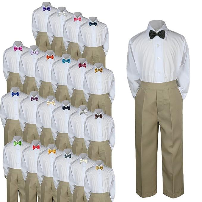 52cbcb668 3pc Baby Toddler Kid Boy Wedding Formal Suit KHAKI Pants Shirt Bow Tie Set  Sm-