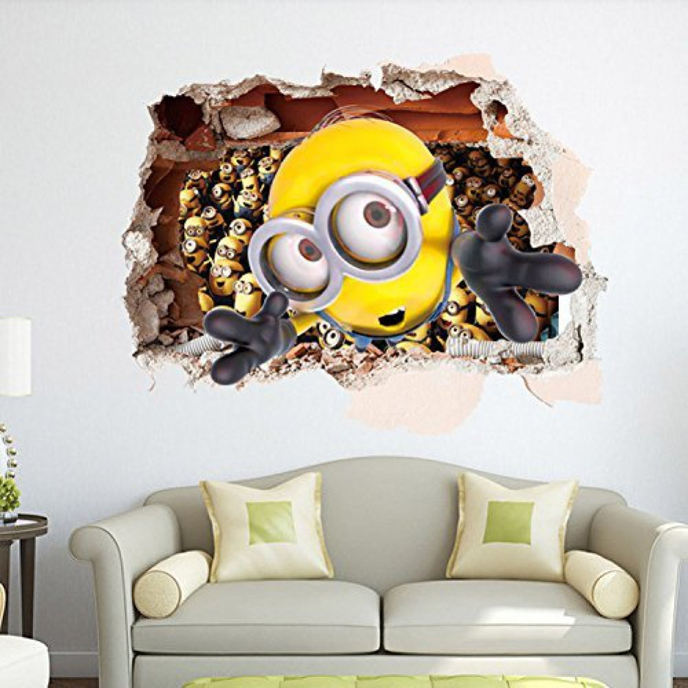 Minions Wallpaper For Bedroom Amazoncom Apex Removable 3d Despicable Me 2 Minions Wall Sticker