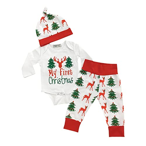 My First Christmas Newborn Costumes Clothes Toddler Baby Girls Boys Clothing  Long Sleeve Infant Outfits Set - Baby Christmas Outfit Boy: Amazon.com