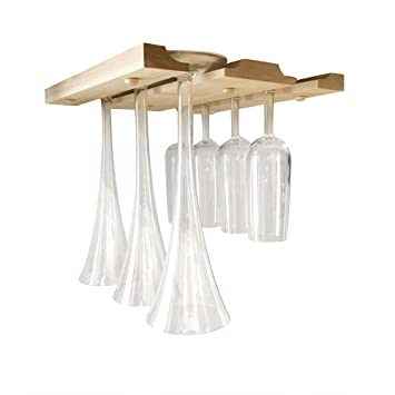 Amazoncom Hanging Wine Glass Rack Under Cabinet Counter Bar Or