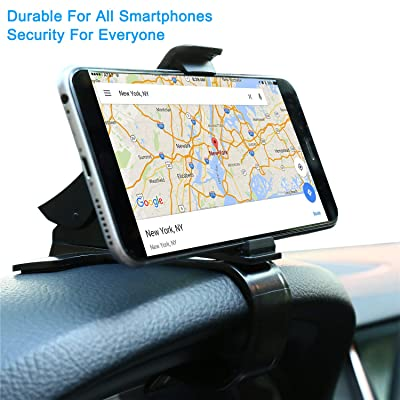 Dashboard Mounted Car HUD Phone Holder for iPhone Samsung Galaxy Motorola - Nonslip Rotary Offset GPS Navigation Mount with Enhanced Sticky Adhesive Base, Spring Rubber Clip, Lookahead Vision