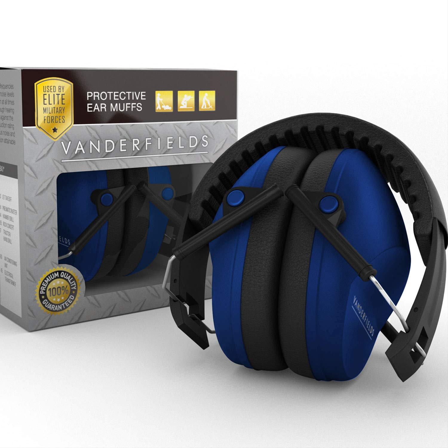 G & F Products Earmuffs hearing protection with low profile passive folding design 26dB NRR and reduces up to 125dB, black 13010B