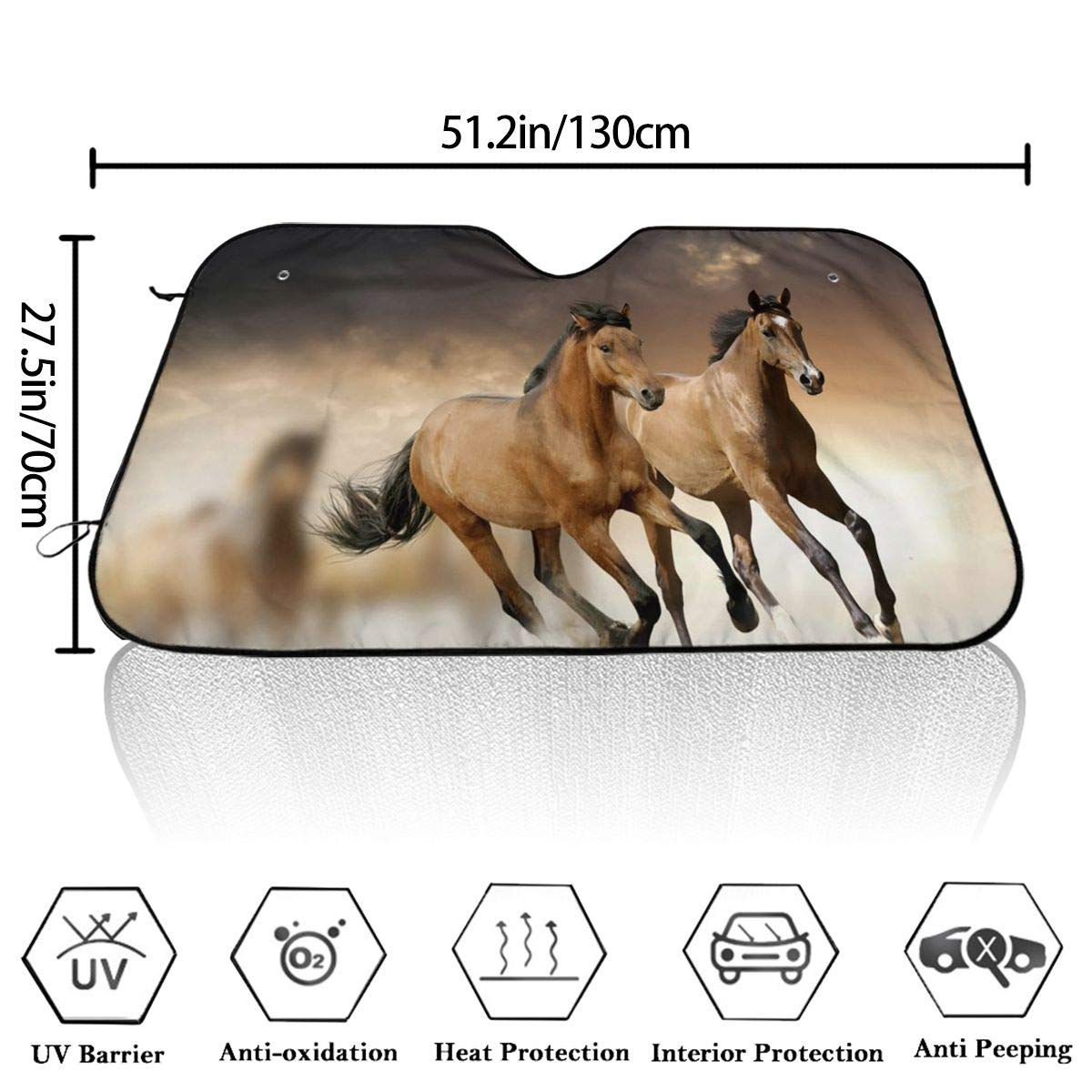 Auto Car Truck SUV Vehicle Universal-fit Front Windshield Sunshade PecoStar Running Horse Accordion Sun Shade