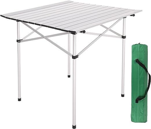 BUSYALL Mesa Enrollable de Camping de Aluminio Plegable Portátil + ...