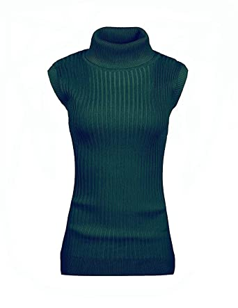 dc4e18a7870 v28 Women s Sleeveless Ribbed High Neck Turtleneck Stretchable Knit Sweater  Top (XS,1dark Green