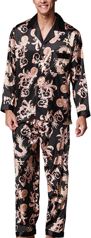 Asskyus Pijamas sedosos para Hombres 2 Piezas Tops y Juegos de Pantalones