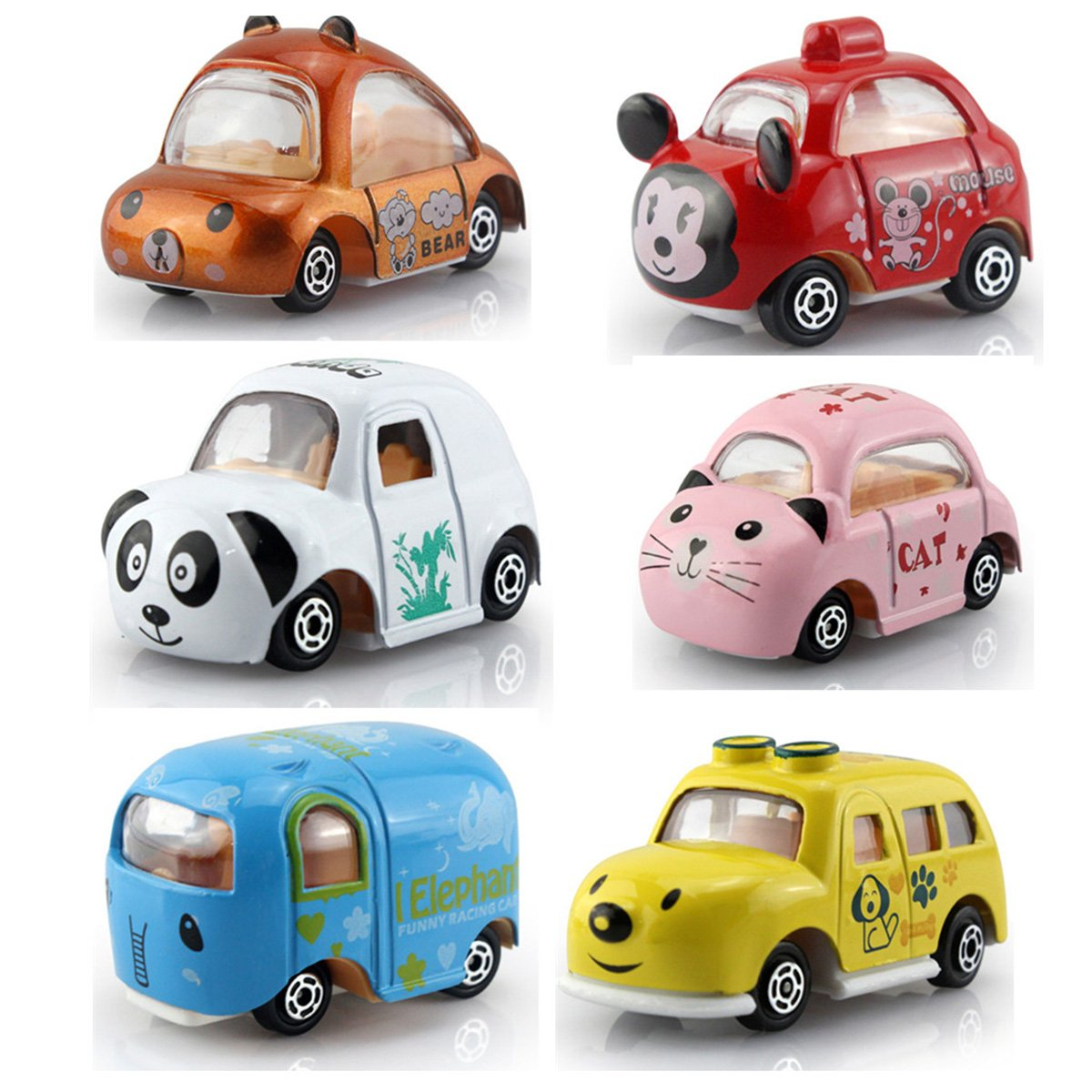 OKOK 6 Pack Mini Pull Back Cars Toy Alloy Die cast Vehicles Playset Carton Animal Mini Truck Toy Pull Back and Go Pull Back Car Set for Kids