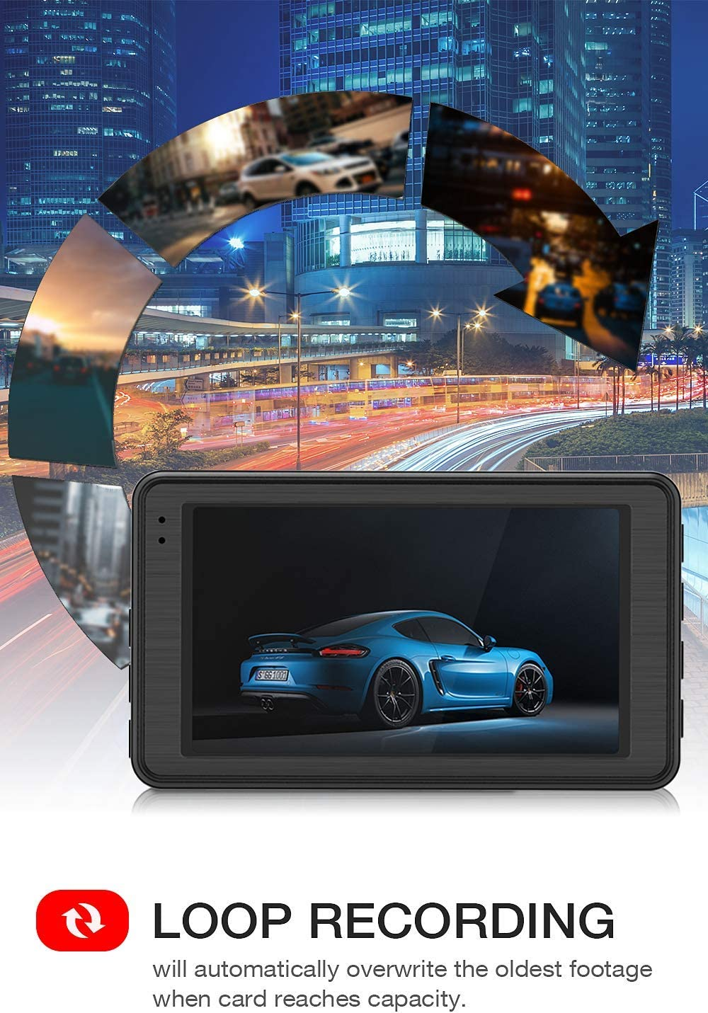 G-Sensor TOGUARD 4K UHD Dash Cam Built-in GPS Dashboard Camera Recorder 3 LCD 170/° Wide Angle Car Dash Camera with Night Vision Time Lapse 24Hs Parking Mode