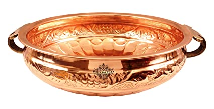 Buy Indian Art Villa Embossed Design Copper Urli Decorative