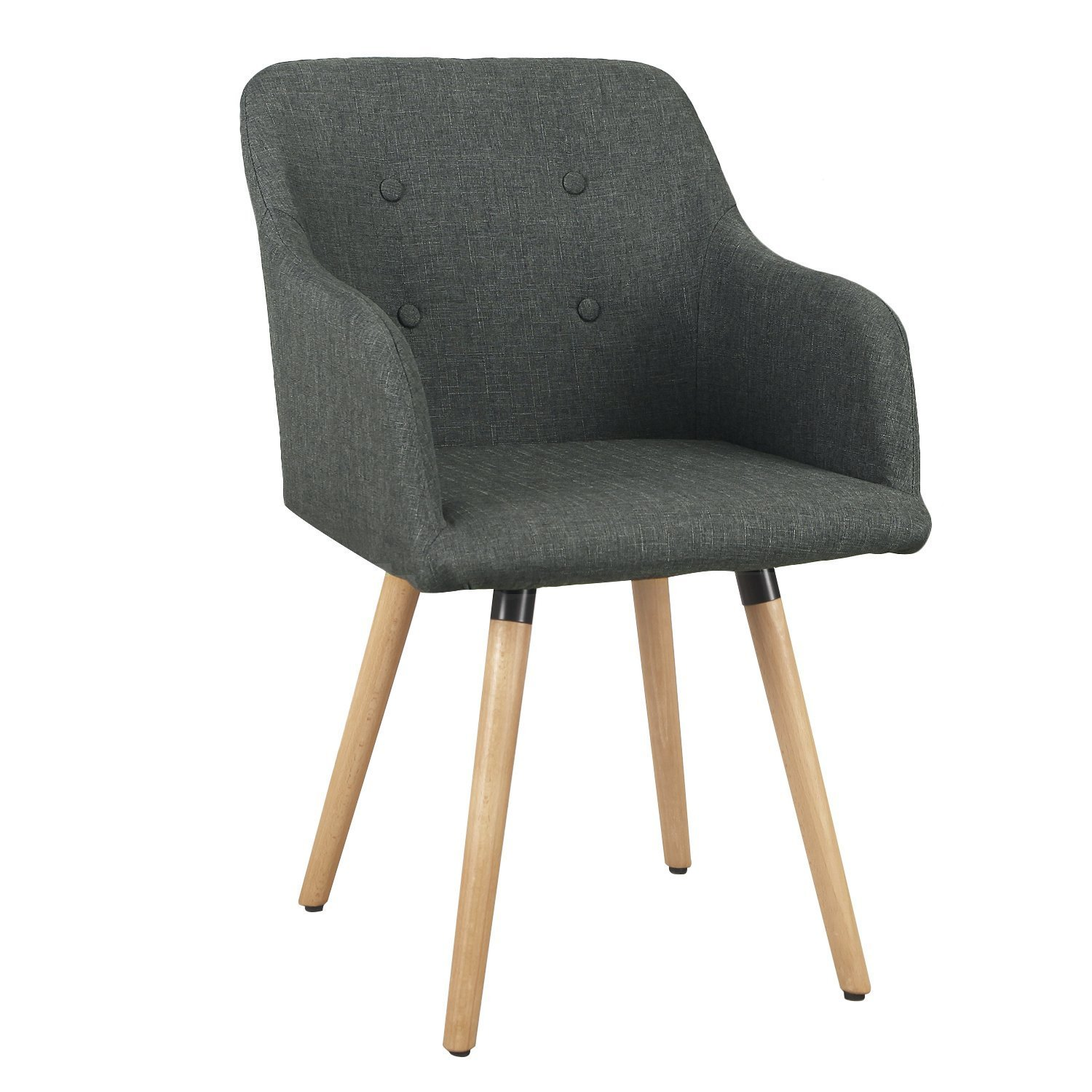 DecentHome Bacco Style Living Room Dining Room Home Bar Counter Stool, with High Armrest, Button Tufted Back and Wood Legs (Charcoal)