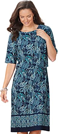 AmeriMark Popover Border-Print Dress