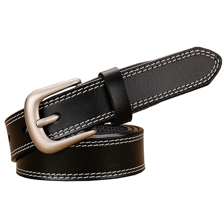 Mistere Fashion women width thin strap second layer cowskin waistband,115cm,Black