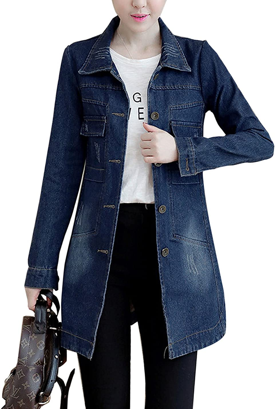 Yeokou Womens Casual Slim Fit Mid Long Button Down Jean Deanim Jacket Coat Tops