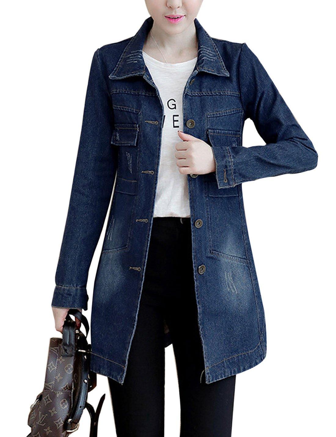 Yeokou Women's Casual Slim Mid Long Denim Jean Windbreaker Jacket Trench Coat