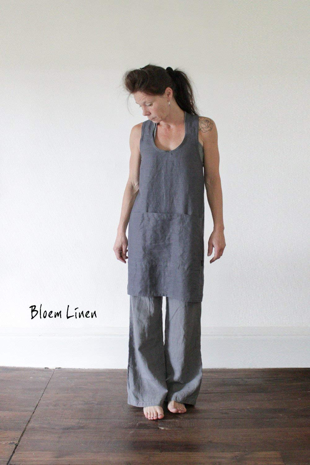 Linen apron in Slate Grey, Handmade Pinafore, Apron dress in natural linen, Eco friendly